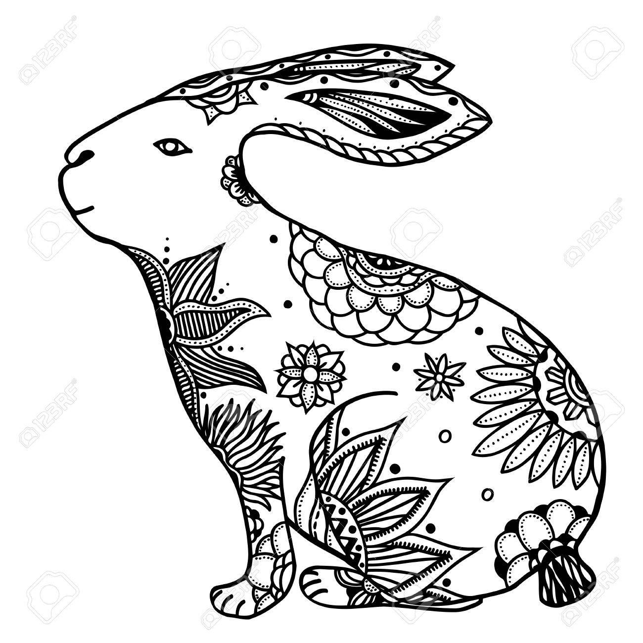 1300x1300 Decorative Hand Drawn Doodle Rabbit Illustration. Ornate White