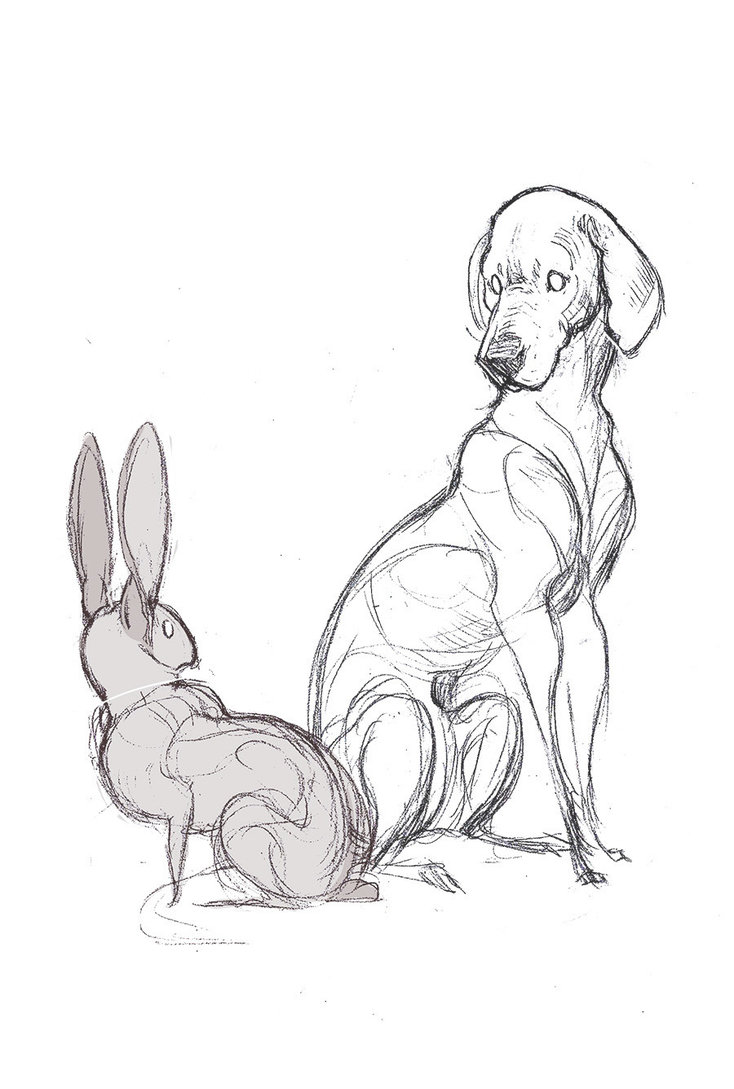 734x1089 The Hare And The Hound (Inktober