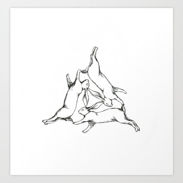 700x700 The Three Hares Art Print By Ejbeachy Society6
