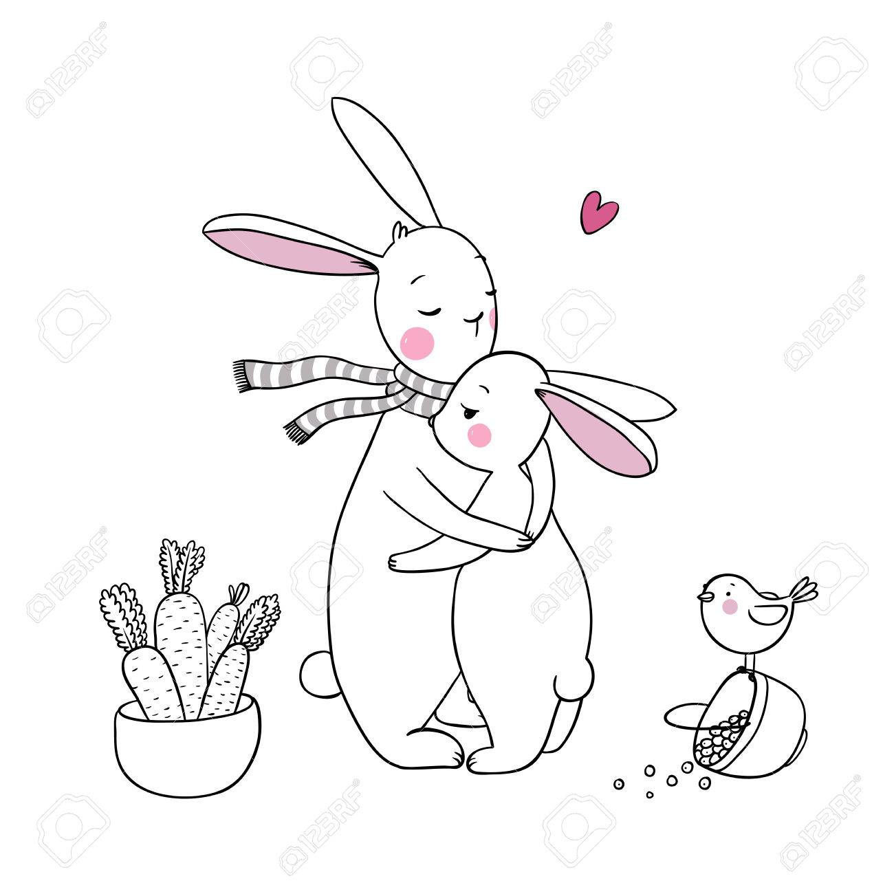 1300x1300 Cute Rabbits, A Basket Of Carrots And A Bird. Hand Drawing