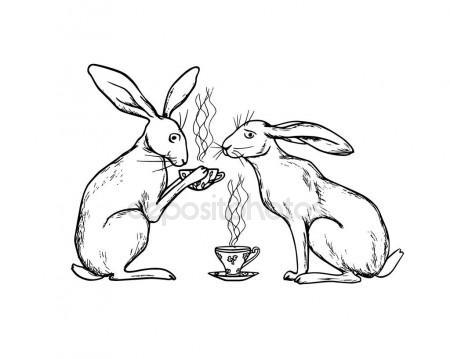 450x359 Cute Hares Sketch Stock Vector Alsoush
