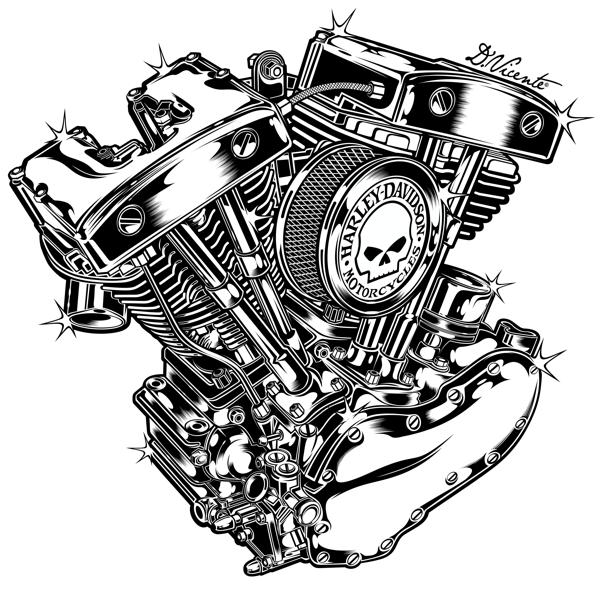 600x593 Harley Davidson Engine 1966' By David Vicente