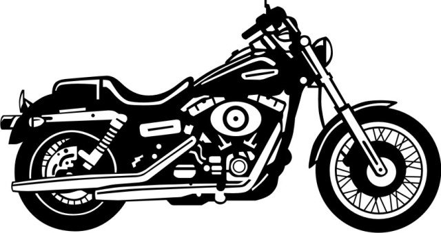 640x339 Harley Davidson Motorcycle Clipart Black And White