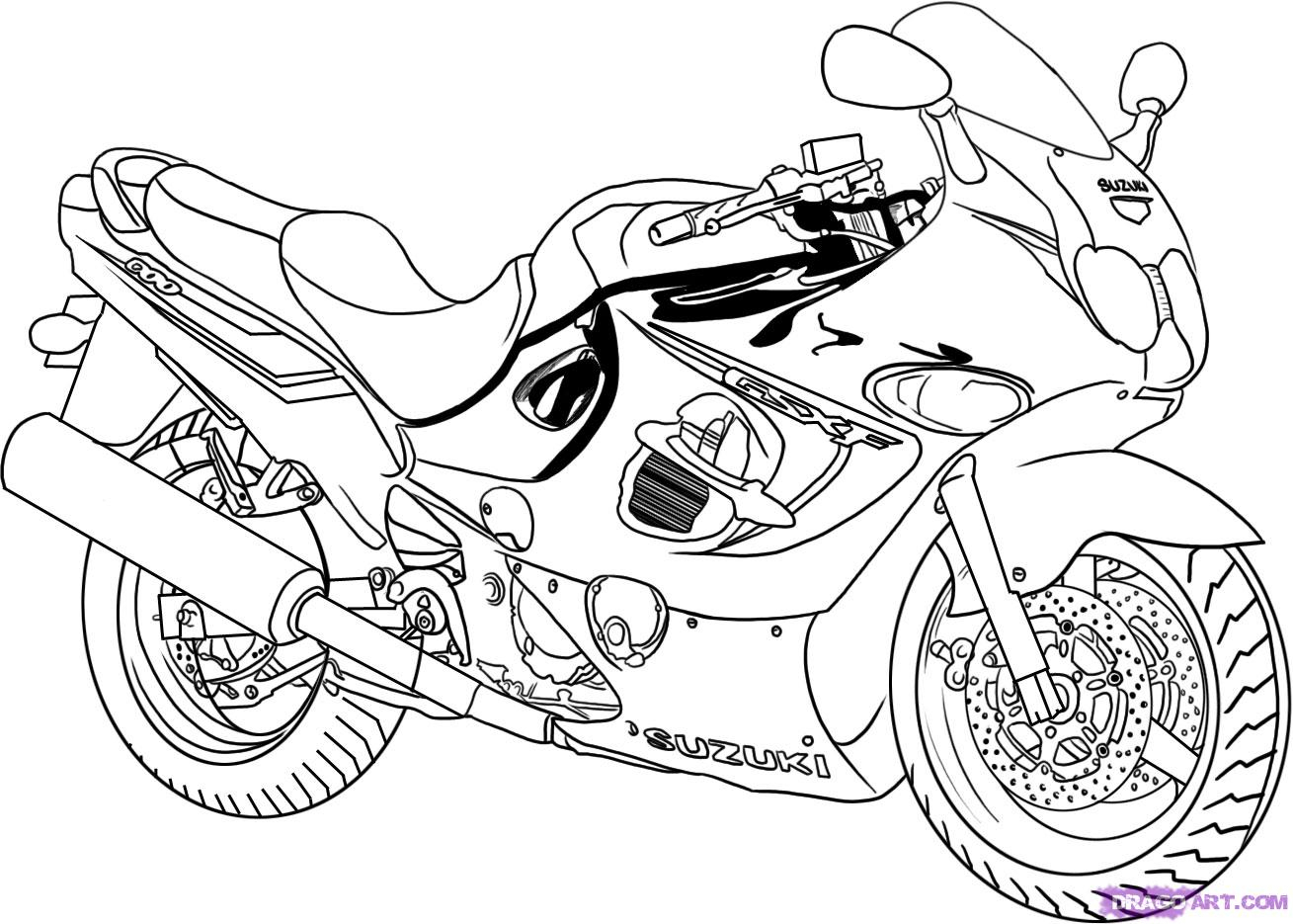 1309x935 Motorcycle Drawing Step By Step How To Draw Cartoons Harley
