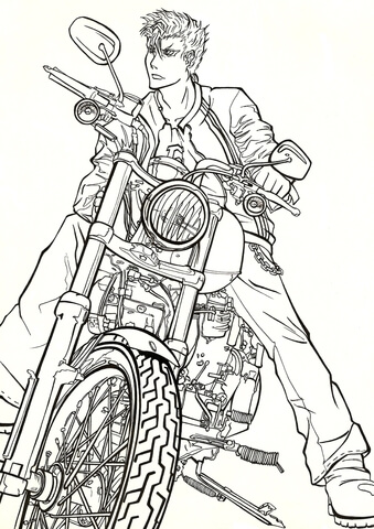 339x480 Grimmjow Jaegerjaquez On Motorbike Harley Davidson From Manga