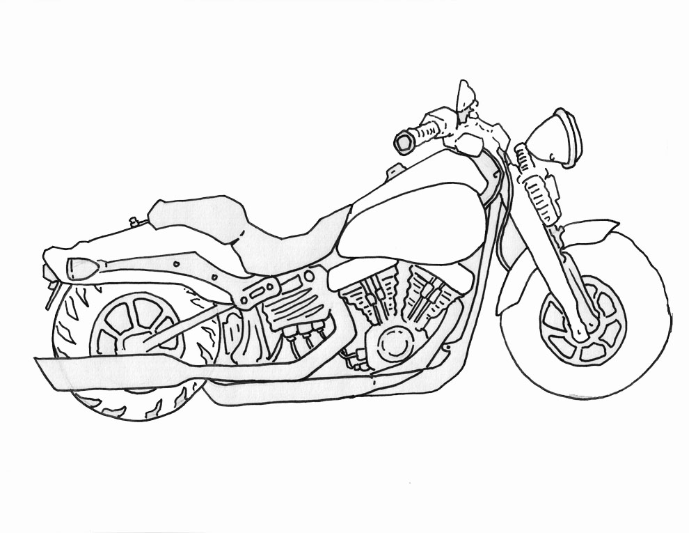 990x765 How To Draw A Motorcycle Drawing Ideas Drawings