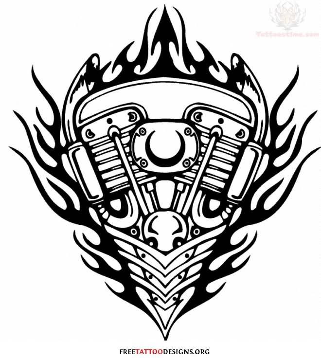 660x740 Harley Davidson Flaming Engine Tattoo On Left Shoulder