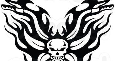367x195 Harley Davidson Skull Logo Stencil Vector Free Vector Art