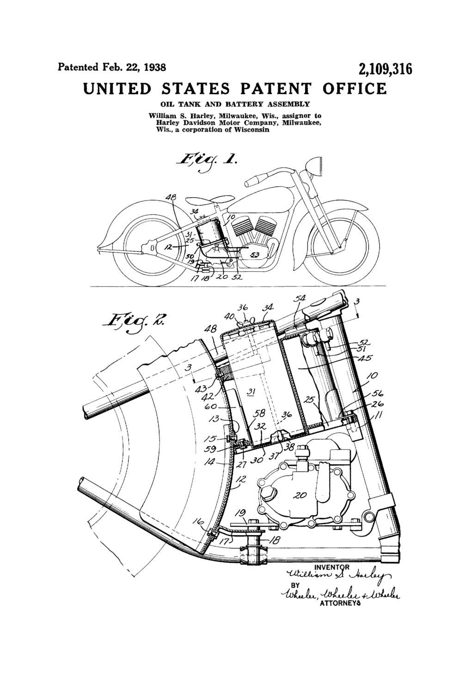 1021x1500 Harley Oil Tank Patent 1938 Harley Davidson Art, Patent Print