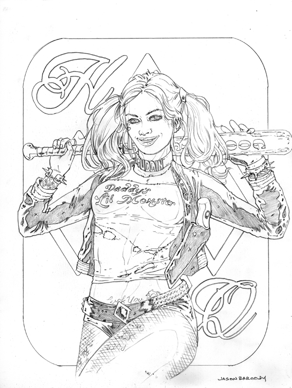 600x797 Harley Quinn Pencils By Jasonbaroody