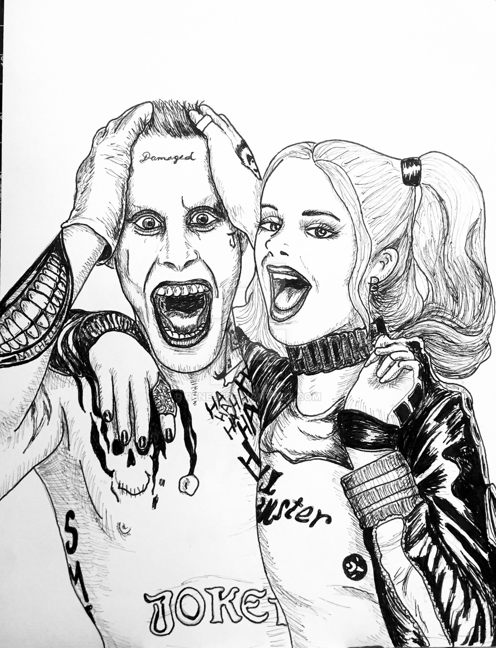 1024x1336 Joker And Harley From Suicide Squad Inks By Rene L