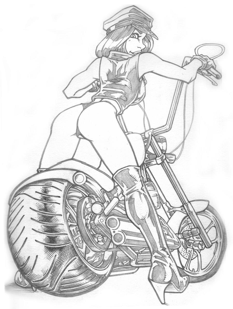 900x1195 Harley Girl By Bigjackart