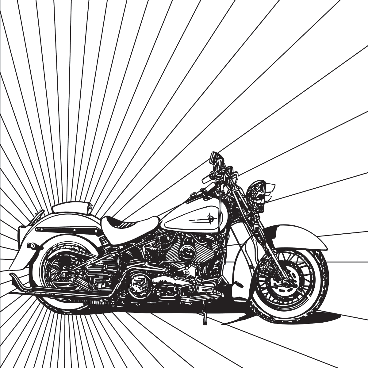 1200x1200 Harley Motorcycle Coloring Page