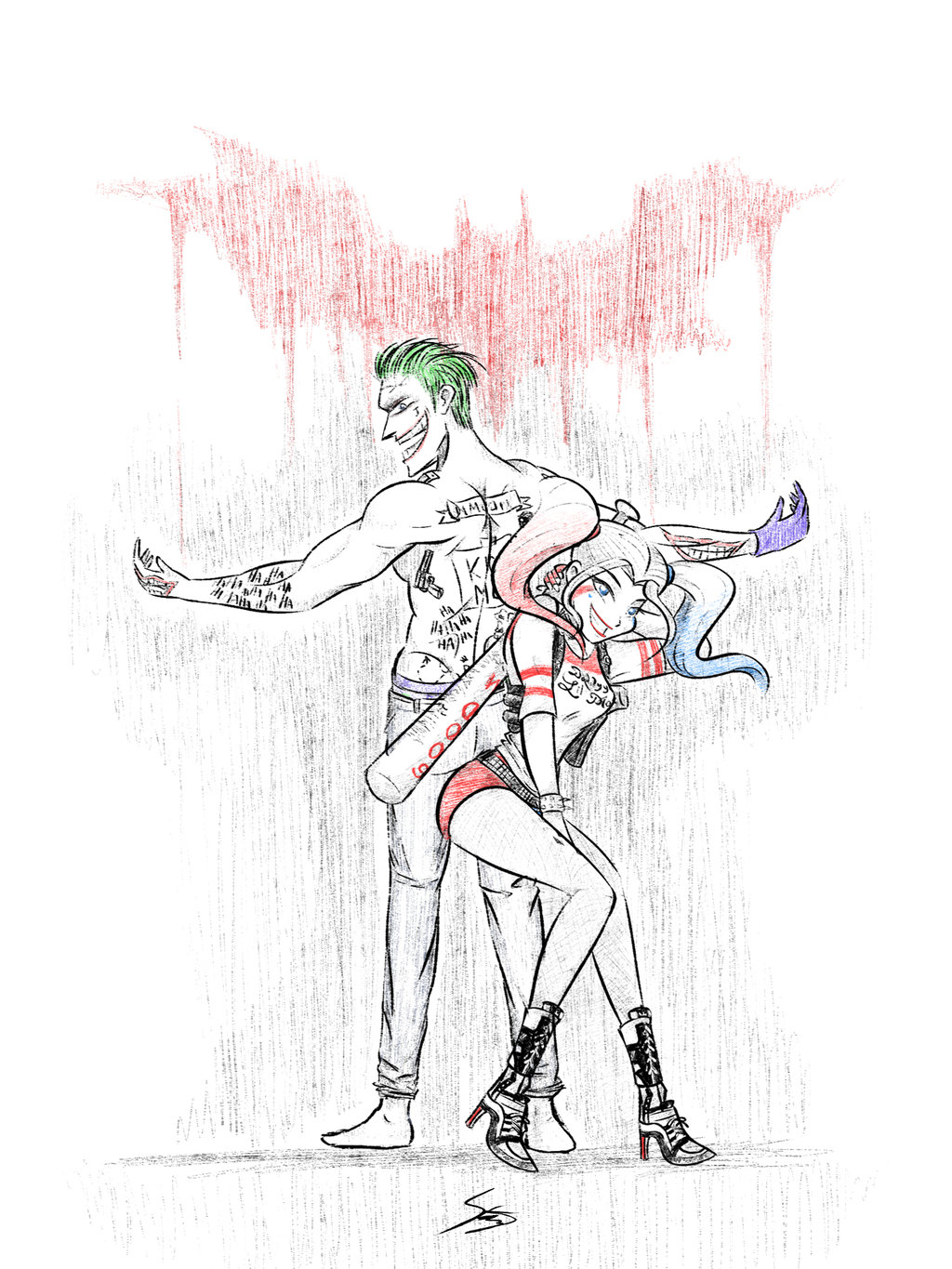 1024x1365 Joker And Harley Quinn By Sato100