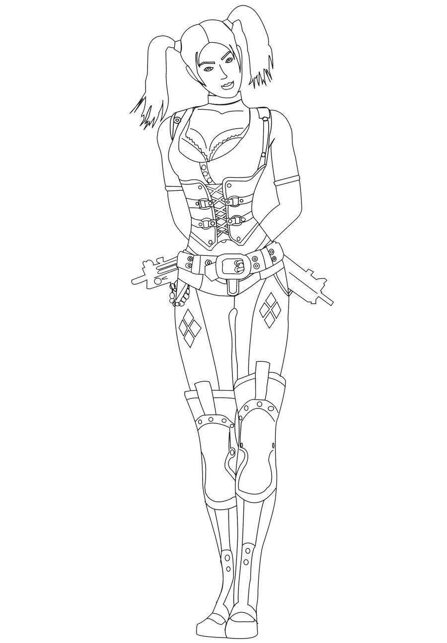 900x1294 Harley Quinn Lineart (No Bg) By Pointedsai