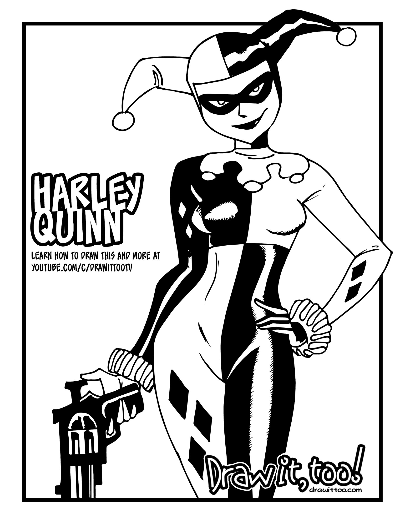 1700x2200 How To Draw Harley Quinn (Dc Animated Universe) Drawing Tutorial