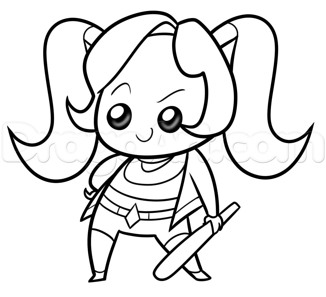 1125x1024 Draw Kawaii Harley Quinn, Step By Step, Dc Comics, Comics, Free