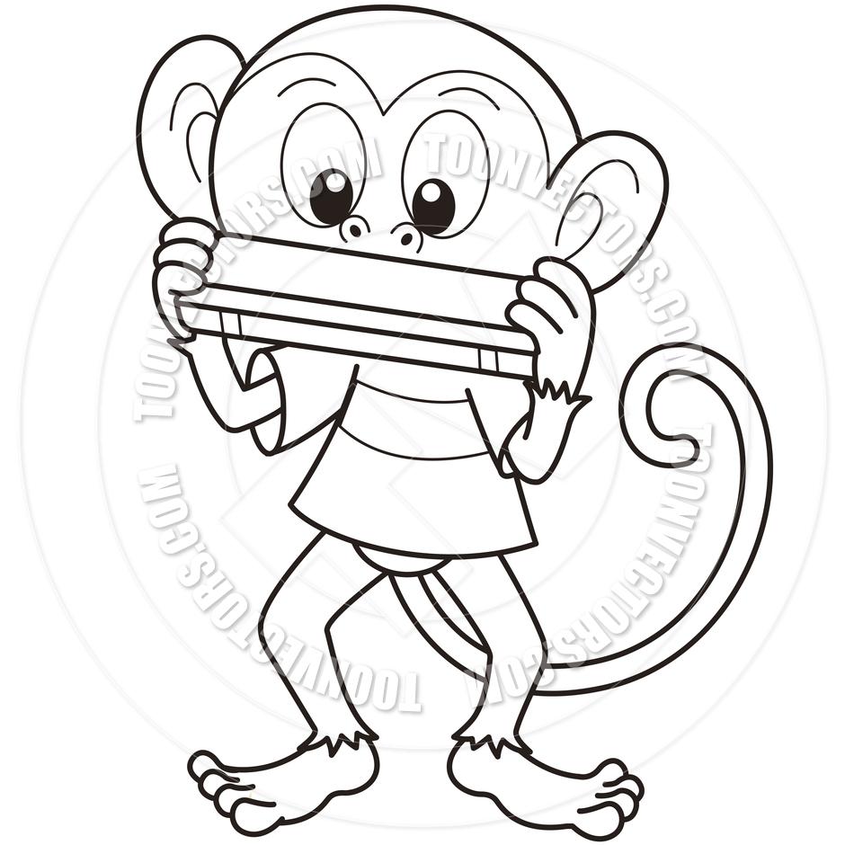 940x940 Cartoon Monkey Playing A Harmonica By Toon