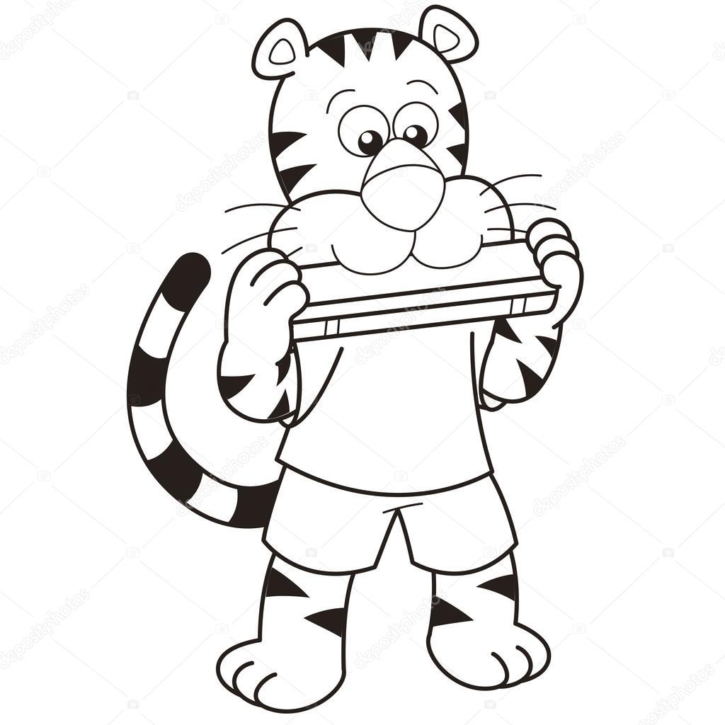 1024x1024 Cartoon Tiger Playing A Harmonica Stock Vector Kchungtw