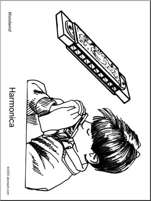304x404 Coloring Page Harmonica Abcteach