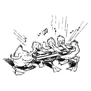 300x300 Ducks Playing Harmonica Unmounted Rubber Stamp Music, Dance