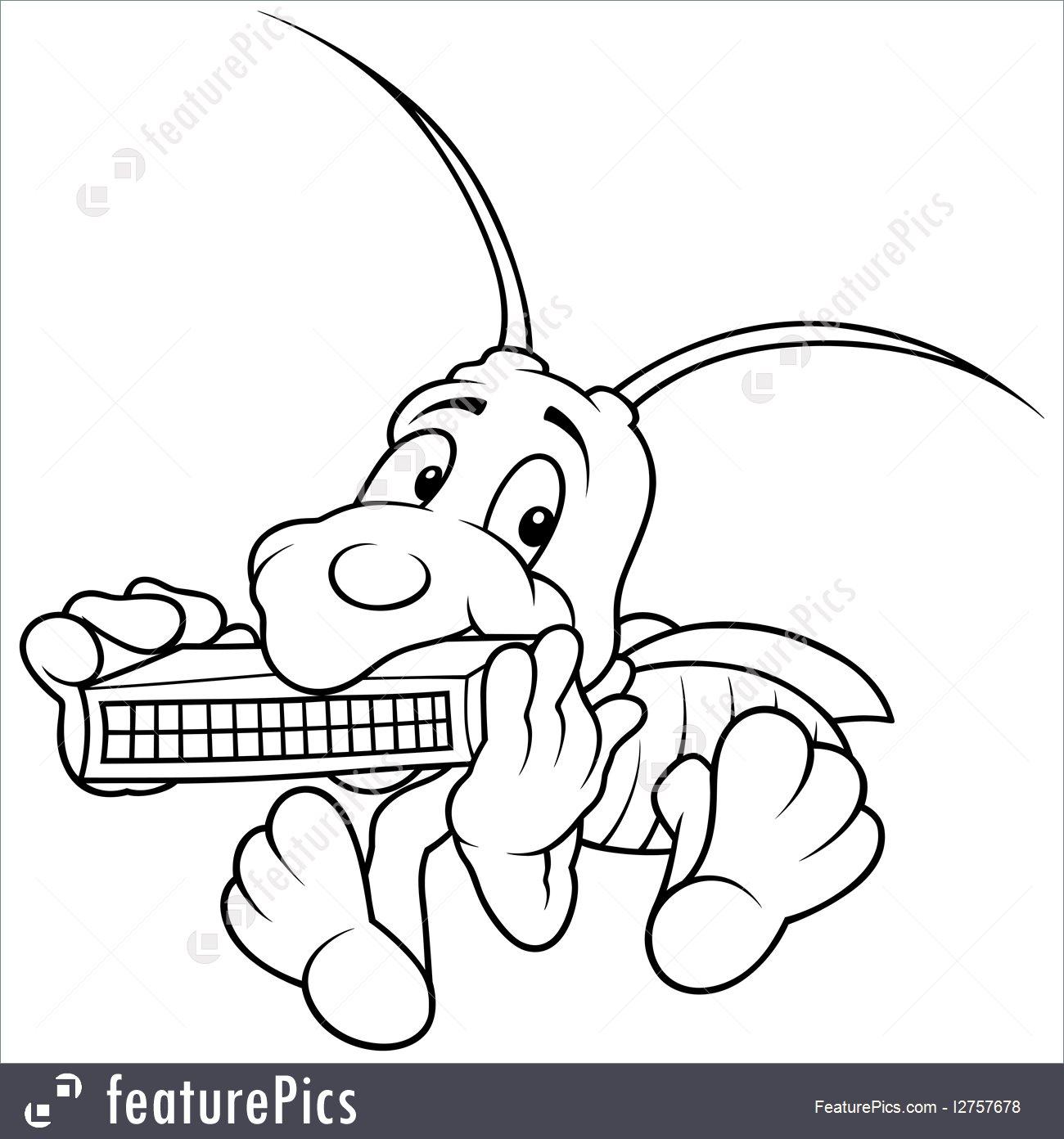 1300x1392 Grasshopper And Harmonica Cartoon Stock Illustration I2757678