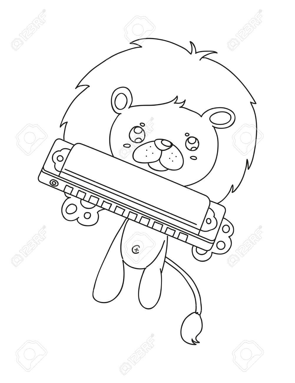 1002x1300 Illustration Of Isolated Hand Drawn Lion Playing Harmonica Vector