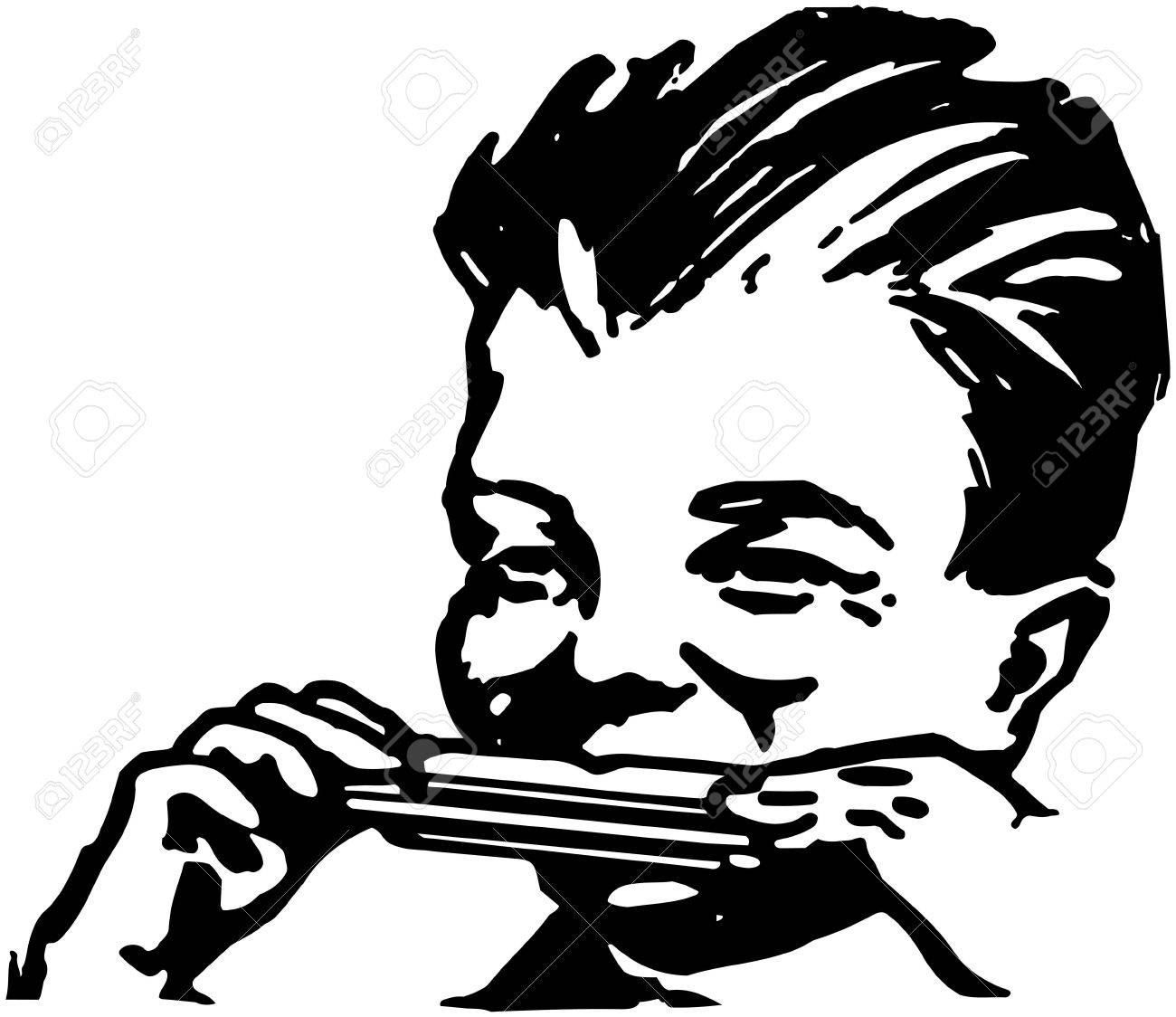 1300x1124 Boy Playing Harmonica Royalty Free Cliparts, Vectors, And Stock