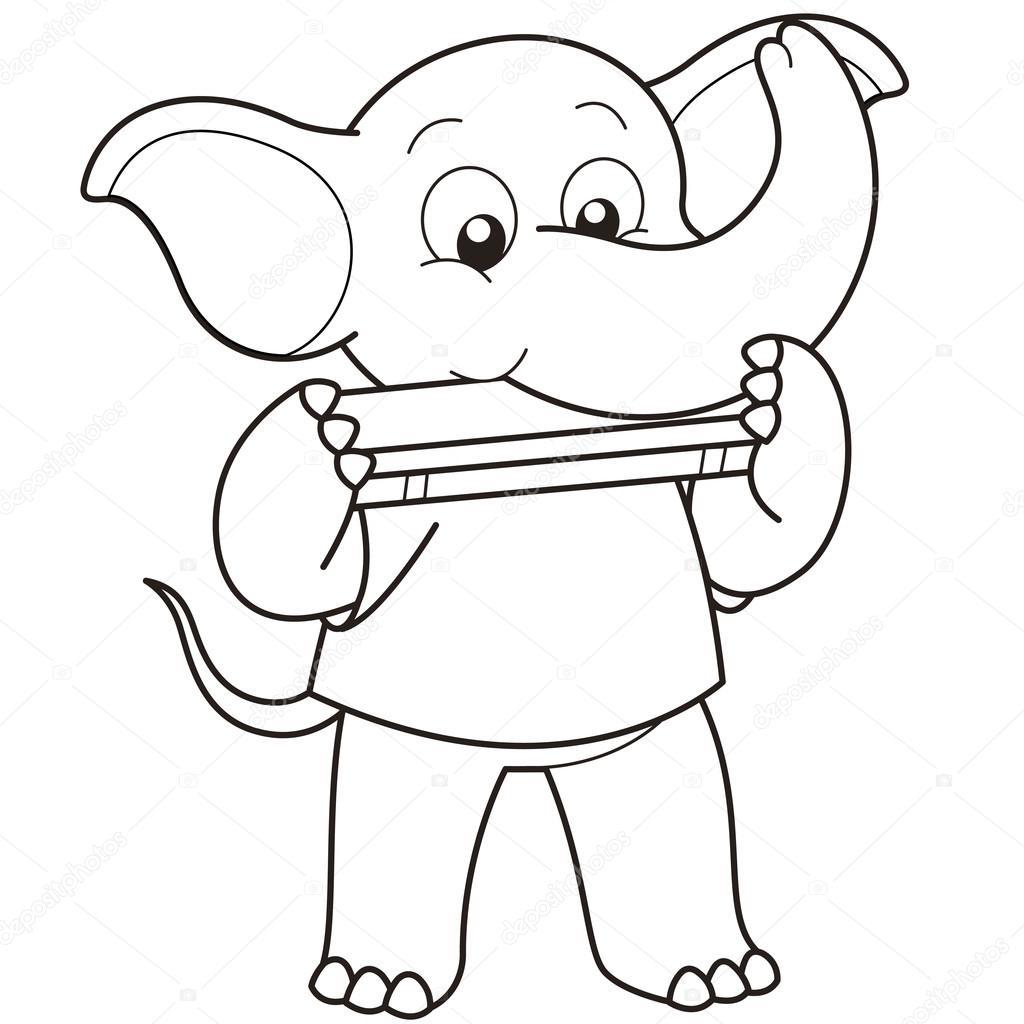 1024x1024 Cartoon Elephant Playing A Harmonica Stock Vector Kchungtw