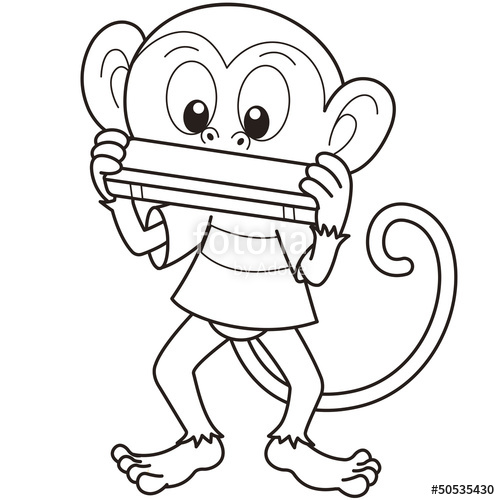 500x500 Cartoon Monkey Playing A Harmonica Stock Image And Royalty Free