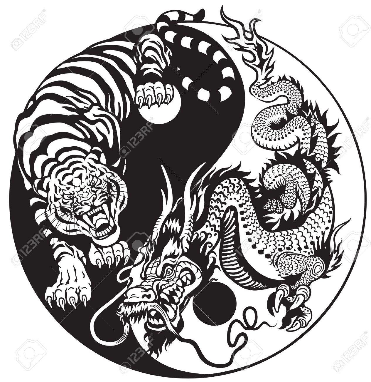 1264x1300 Dragon And Tiger Yin Yang Symbol Of Harmony And Balance. Black