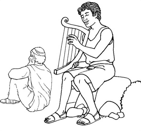 600x558 David Play Harp In The Story Of King Saul Coloring Page