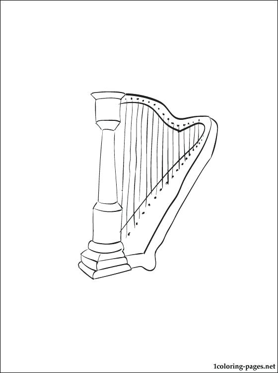 560x750 Harp Coloring Page Download Free Harp Drawing Page David Playing