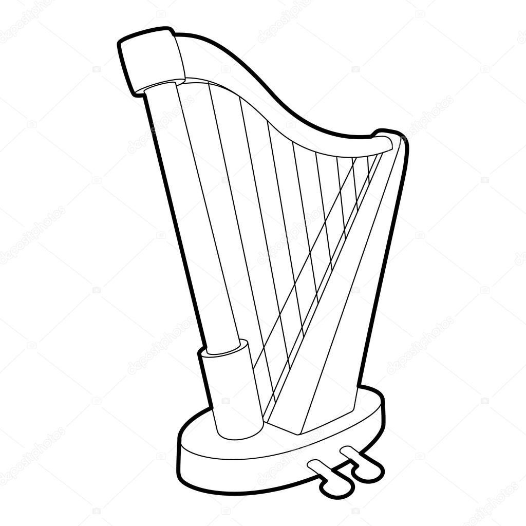 1024x1024 Harp Icon, Outline Isometric Style Stock Vector Ylivdesign