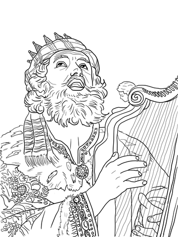 360x480 King David Playing The Harp Coloring Page Free Printable