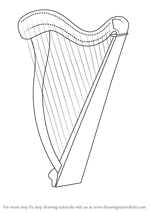 598x844 Learn How To Draw A Harp (Musical Instruments) Step By Step