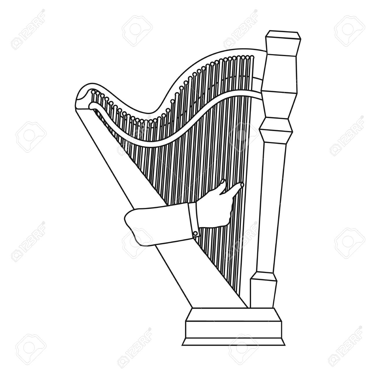 1300x1300 Playing The Harp Stringed Musical Instrument. Orchestral Harp
