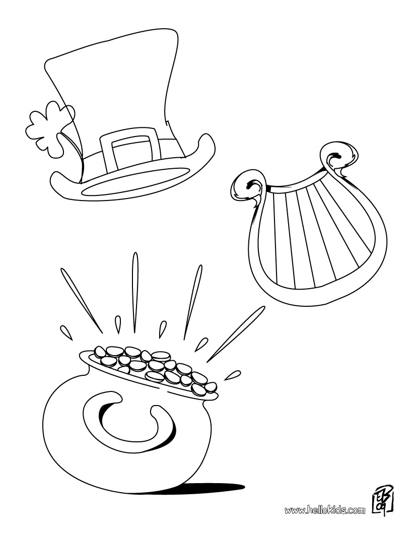 820x1060 Pot Of Gold, Harp And Hat Coloring Pages