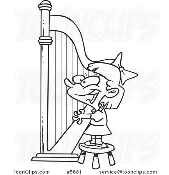 581x600 Cartoon Black And White Line Drawing Of A Girl Playing A Harp