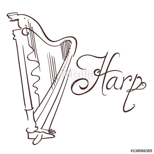 500x500 Hand Drawn Line Abstract Harp. Vector Illustration Stock Image