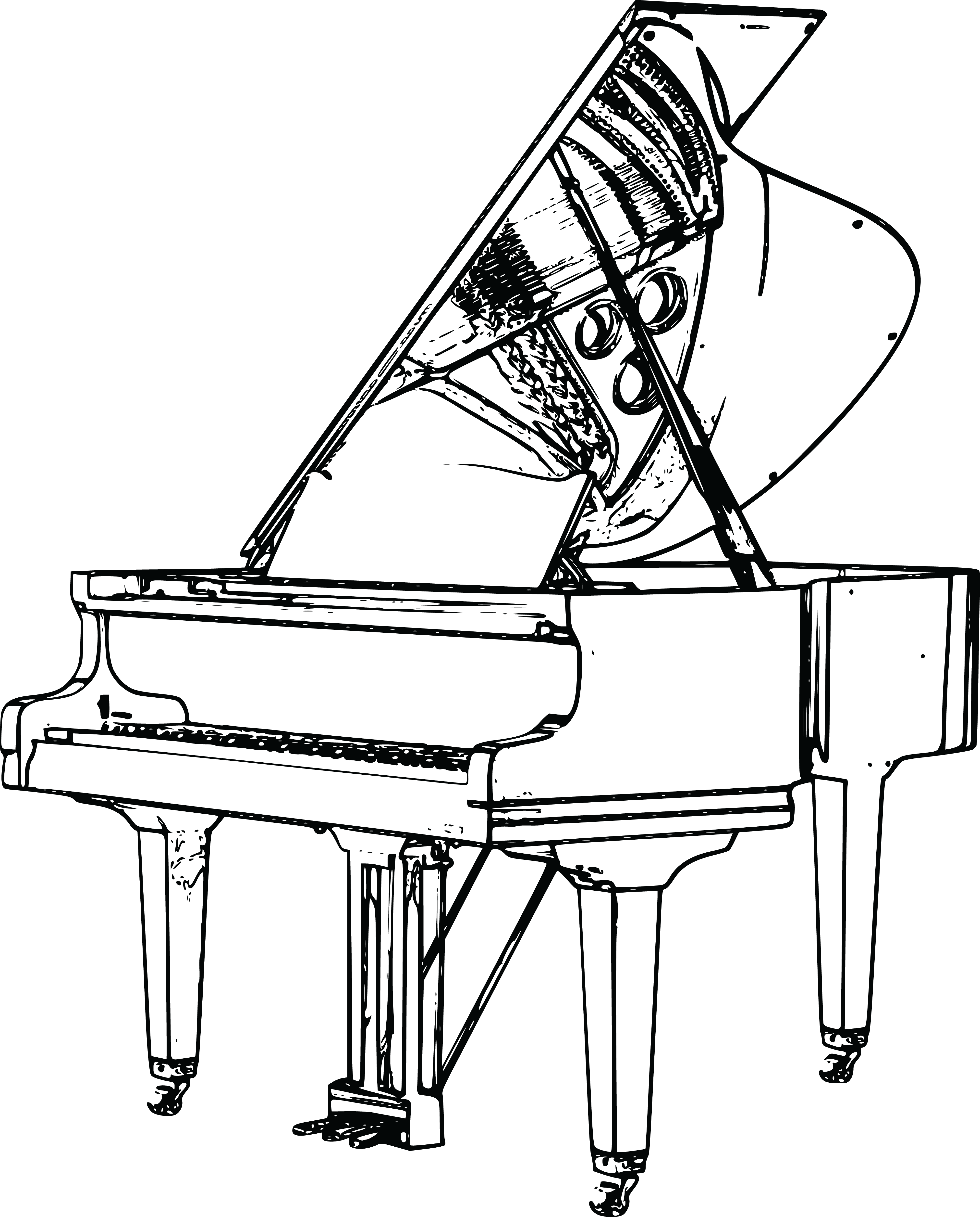 4000x4963 Free Clipart Of A Harpsichord Flugel