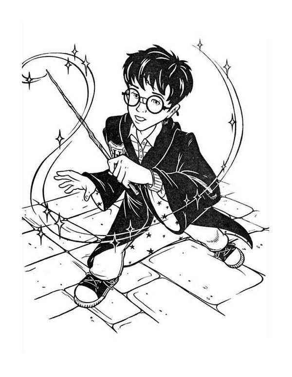 600x776 Cartoon Of Harry Potter Coloring Page