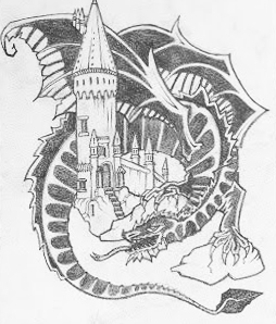 254x298 Eragon Dragon And Hogwarts Castle (Tattoo Style) Sketch Hatters