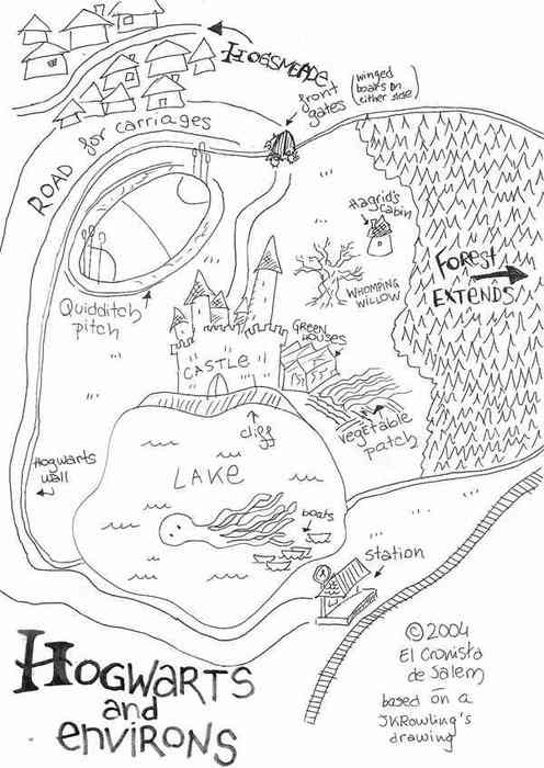 496x700 Hogwarts Doodle Map Illustrations Hogwarts
