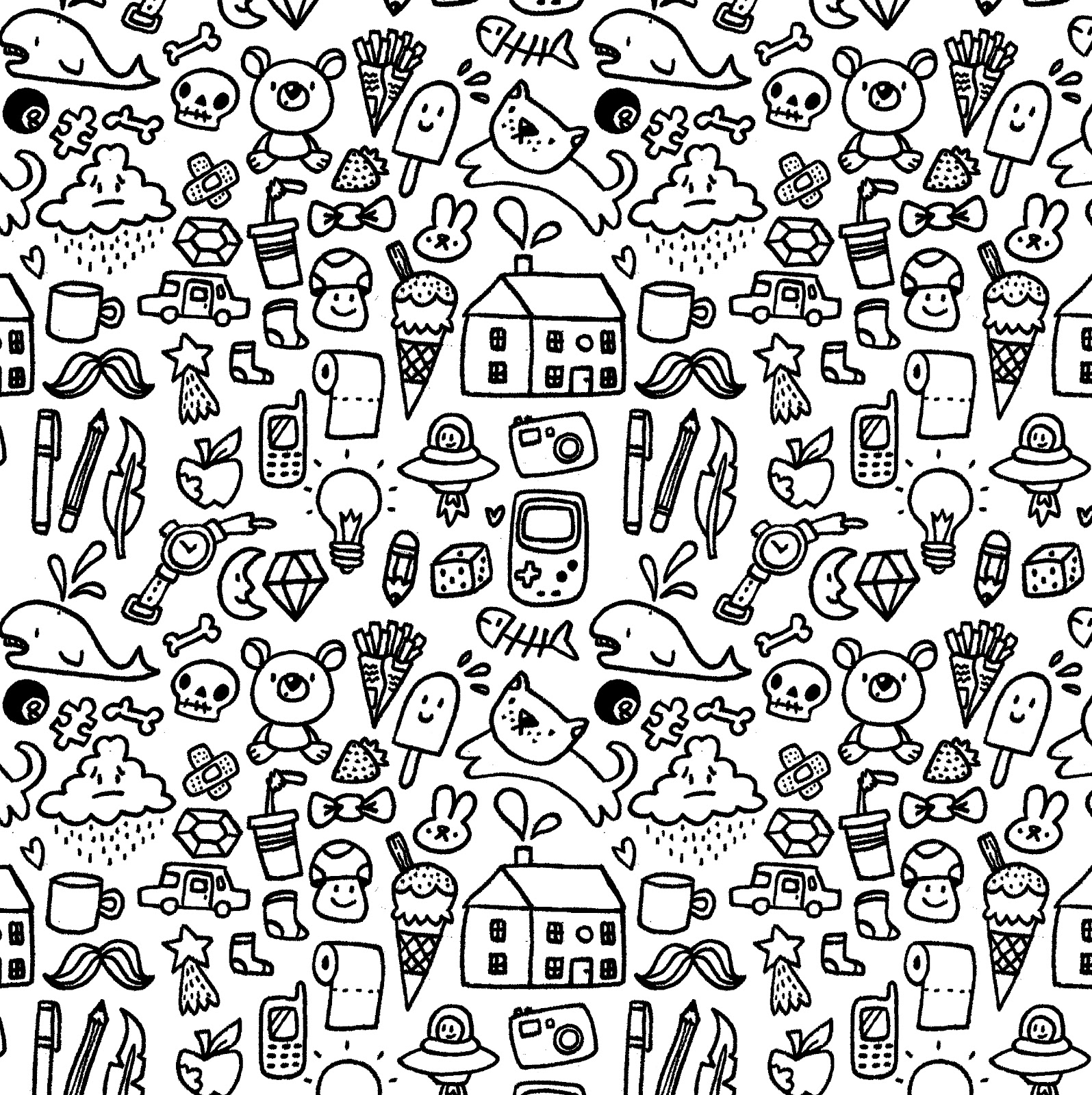 1595x1600 Cute Doodle Pattern Picture Hd Wallpapers Planners, Printables