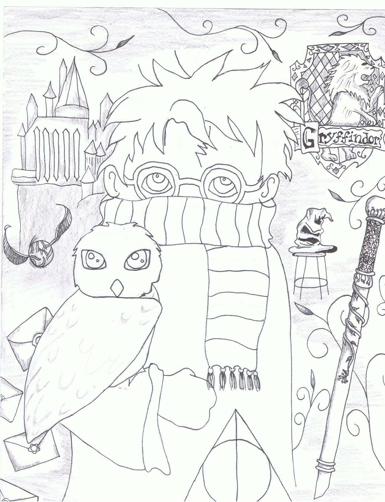 1229x1600 Readdrawlove Drawing A Harry Potter Collage