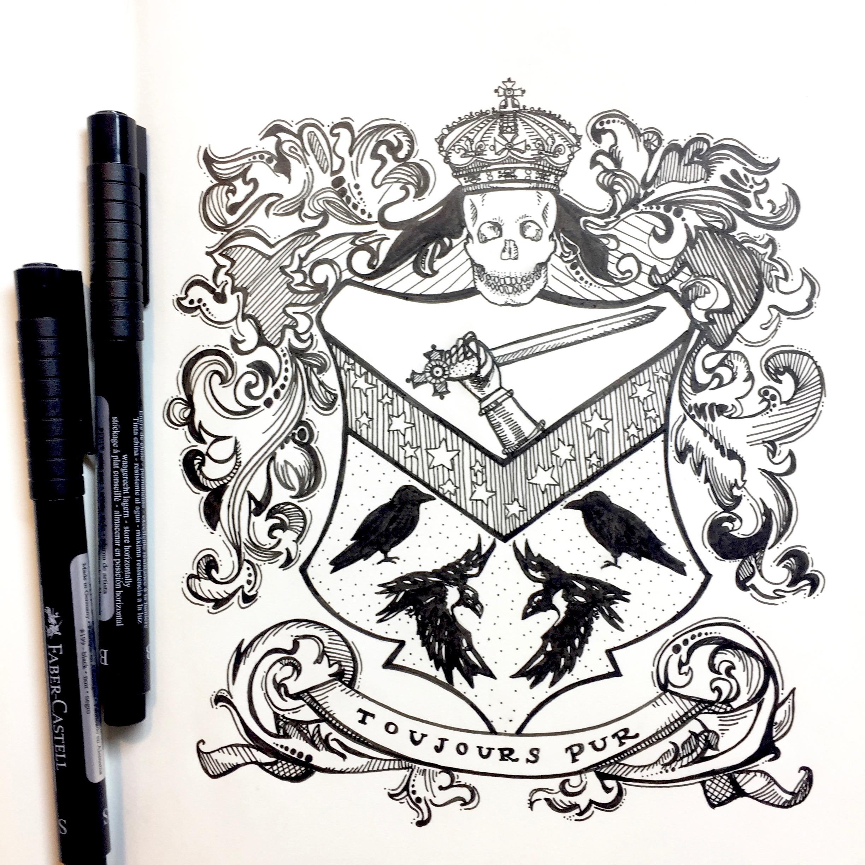 2448x2448 Black Family Crest, Harry Potter Crest, Harry Potter, Pen And Ink