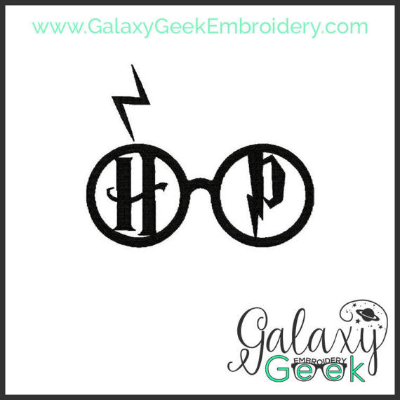 570x570 Harry Potter Embroidery Design Geek Embroidery Glasses Scar