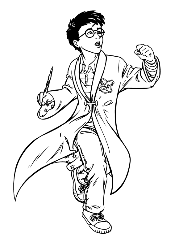 567x769 Harry Potter Preparing To Use The Magic Wand Colouring Pictures