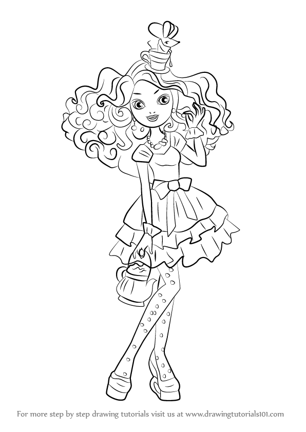 596x842 Learn How To Draw Madeline Hatter From Ever After High (Ever After
